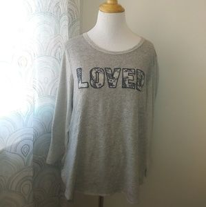 "J. Crew ""Loved"" sweathirt. Sz XL."